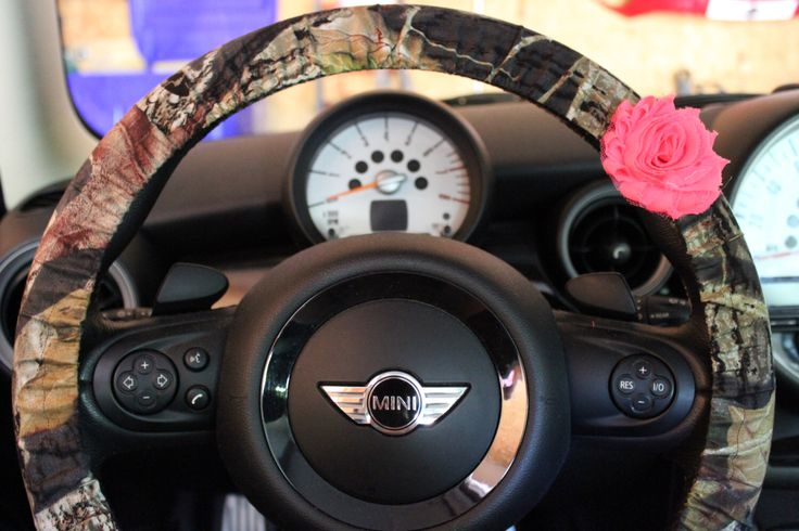 Camouflage Steering Wheel Cover with Shabby Neon Pink Rose Mossy Oak Camo by PickleAndRaRa on Etsy https://www.etsy.com/listing/154215173/camouflage-steering-wheel-cover-with