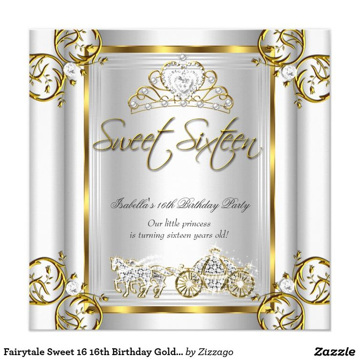 77 best Sweet 16 Birthday Invitations images on Pinterest | Gold ...
