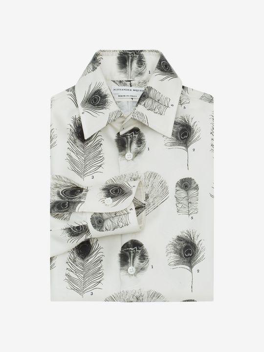 Hemd Mit Pfauenfederdruck im offiziellen Online Store des ikonischen Fashion-Designers Alexander McQueen.