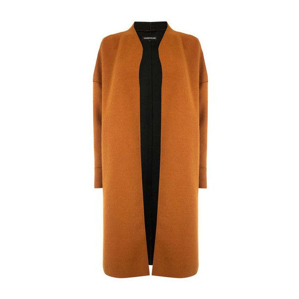 Warehouse Bonded Swing Coat found on Polyvore featuring outerwear, coats, orange, brown coat, trapeze coat, orange coat and swing coat