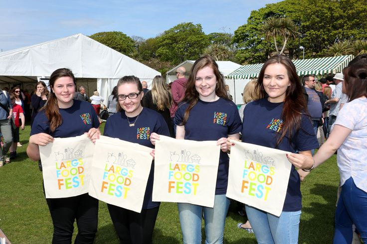 Largs Academy students at the ready with Largs Food Fest gift bags.