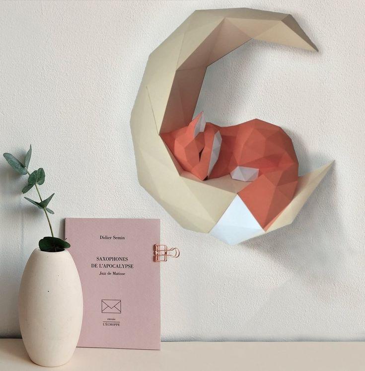 Лиса papercraft fox pepakura 3D Low Poly Paper Sculpture DIY present Decor for house and workplace sample template handmade animals