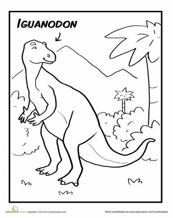 worksheets iguanodon coloring page