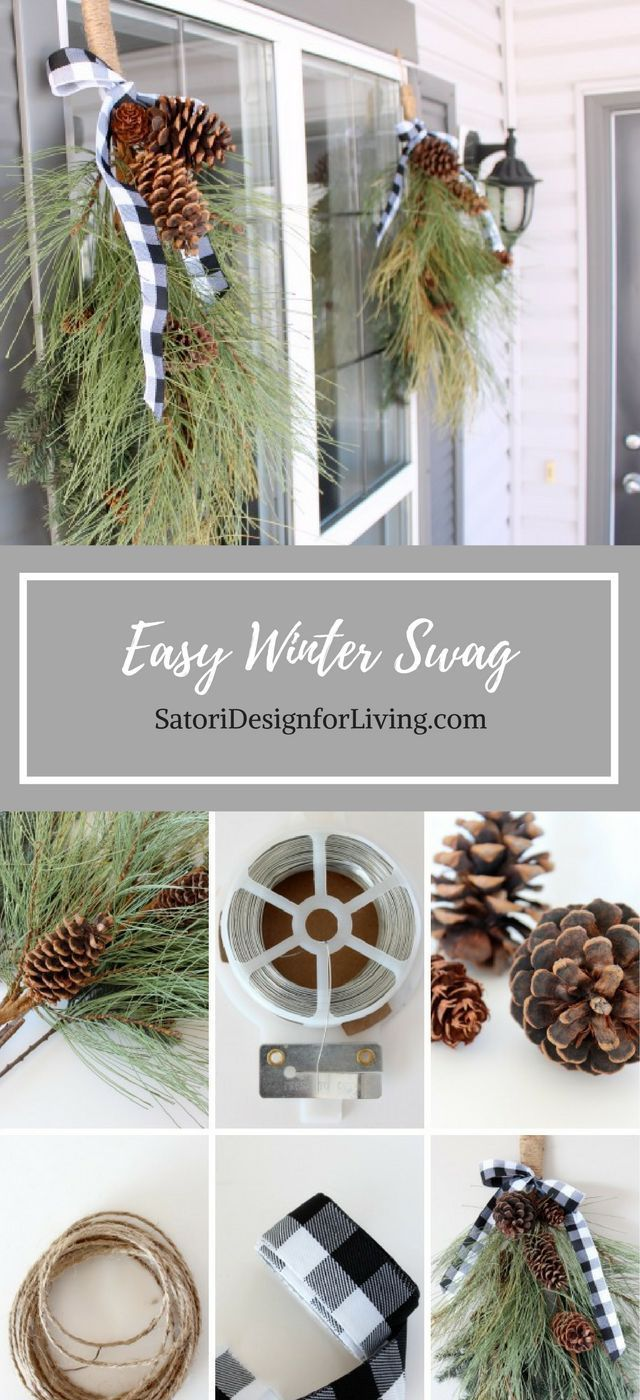 This winter swag is a quick and easy way to decorate your front porch for the winter and Christmas season! Get more DIY Christmas decorating ideas at http://SatoriDesignforLiving.com
