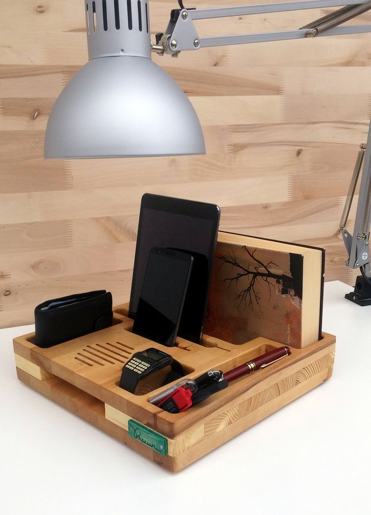 Perfect on your nightstan top. Place for your ipad, iphone, books, glasses, wallet, watch and other accessories.  With passive speaker included and holes for charger.