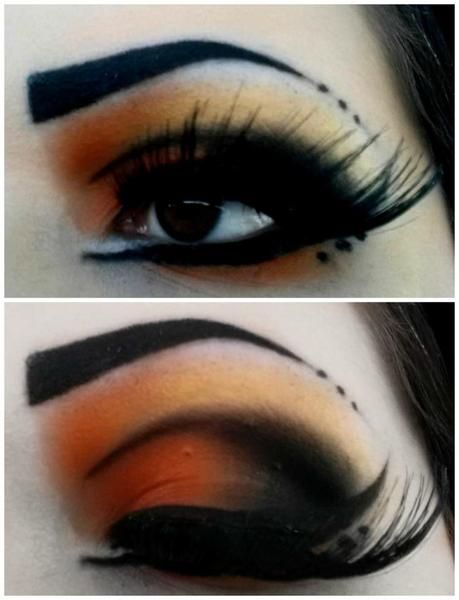 """""""Monarch Butterfly"""" - Orange and Black Eyeshadow. DAT BLENDING. I think you could tone this down a lot and it would be really wearable and just as pretty."""