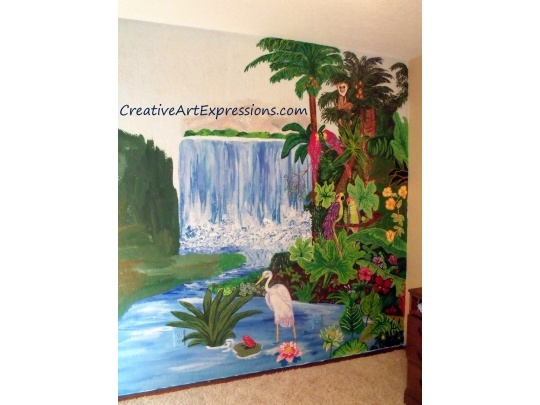 Creative Art Expressions Rainforest Wall Mural In Progress Frog on lily pad and Green Plant added today 3-7-13  #mural #rainforest