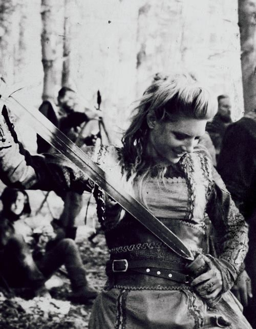 """Lagertha from the TV show, Vikings.  First season struggled to find its """"land legs,"""" but enjoying second season immensely. Rare to find such a good balance of historical accuracy with creative license in production values; even more rare with medieval period shows."""