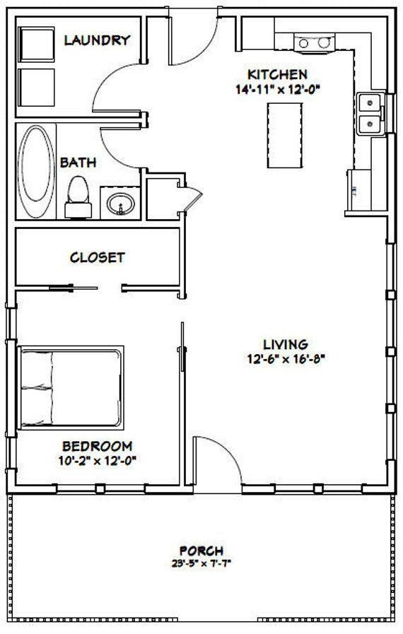 24x30 House 1 Bedroom 1 Bath 720 Sq Ft Pdf Floor Plan Etsy In 2020 One Bedroom House 1 Bedroom House Plans One Bedroom House Plans