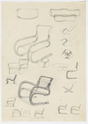 Lounge Chair with Arms. Lounge Chair without Arms. Reclining Chair without Arms. Perspective and elevation sketches Ludwig Mies van der Rohe (American, born Germany. 1886–1969) 1926-46. Pencil on paper, 11 3/4 x 8 1/4 (29.8 x 21 cm). Mies van der Rohe Archive, gift of the architect. © 2013 The Museum of Modern Art, New York