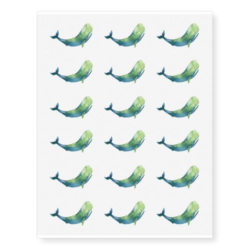 Watercolor Whale Temporary Tattoo | Zazzle.com – CUSTOM PERSONALIZED Gift & Party Essentials