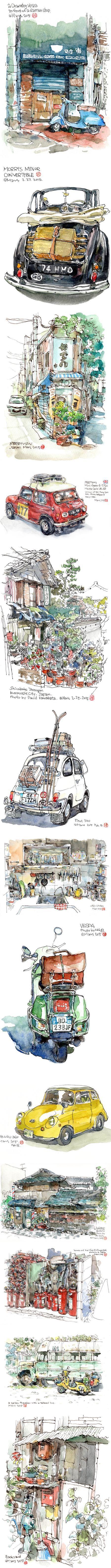 Mars Huang (B6 Drawing Man), watercolor and ink sketches