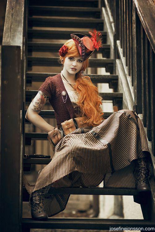 Photographer: Josefine Jönsson / www.josefinejonsson.com    Hats and styling:  Imperial Fiddlesticks Emporium / www.imperialfiddlesticks.com    Make up: Colorfulmakeups    Wigs: Navalith hair design / www.navalith.se    Model: Emy von Hell: Hair Design, Inspiration Steampunk, Fashionsteampunk Style, Steampunk Fashion Cosplay, Steam Punk, Steampunk Inspiration, Steampunk Girls, Hair Color, Fashion Steampunk Style