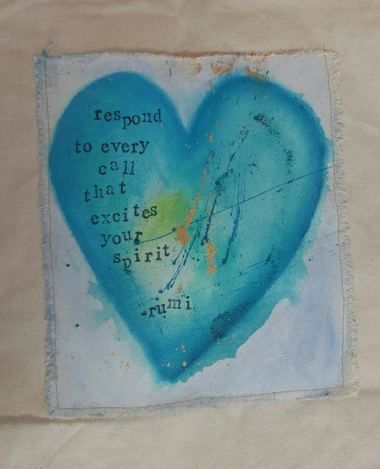"Handmade original art by Terre Cerridwyn Busse. Rumi Quote  Paint on 100% Recycled Cotton, Eco Bag The quote on the picture reads as follows: """"Respond to every call that excites your spirit"""" ~Rumi"