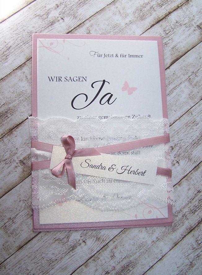 Invitation Wedding Wide Lace Old Pink Invitation Wedding Hochzeitseinladung Karte Hochzeit Einladungen Hochzeit