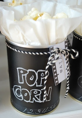 Chalkboard painted can filled with Popcorn!