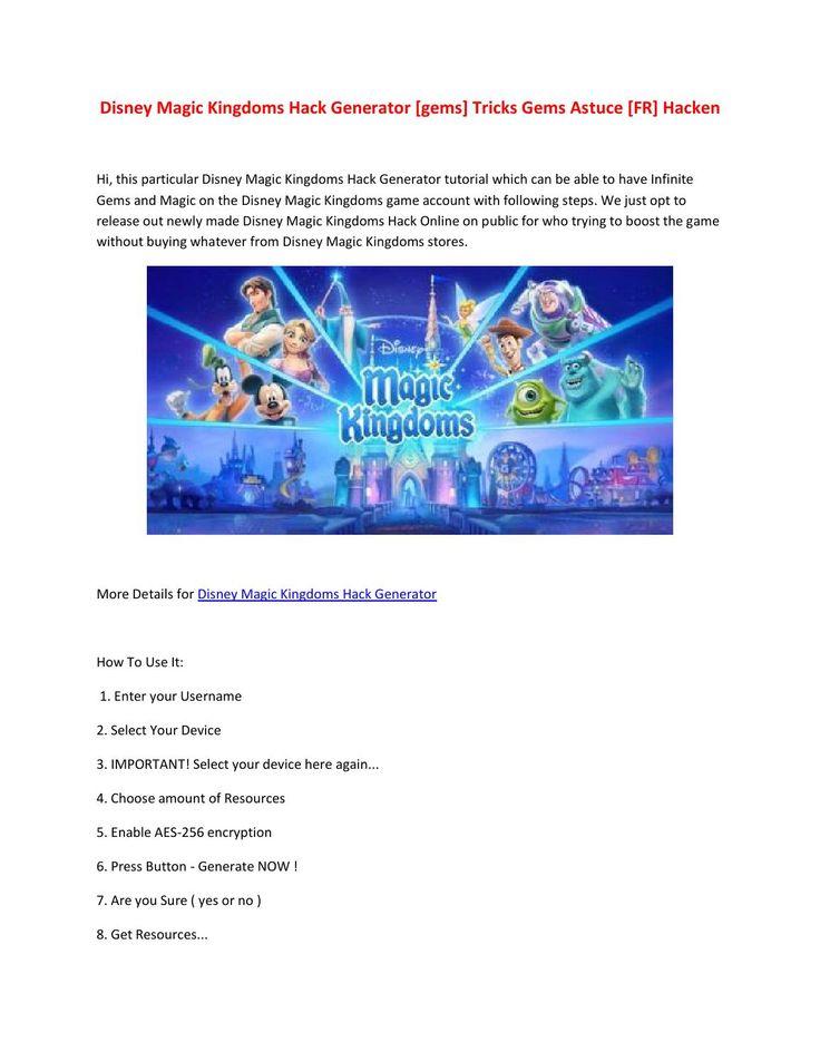 Disney magic kingdoms hack generator