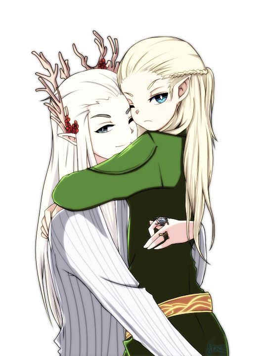 Thranduil and Legolas Thranduil:I love you so much my little leaf... *hug and kiss* Legolas: you say that you love me but you are always busy and I feel alone ... Ada... Thranduil: You know that I am the king and sometime I must do the royal-work but I spend with you as long as possible and you know this ... Right? Legolas: yes Ada... I'm sorry Thranduil:... now hug me, little leaf!