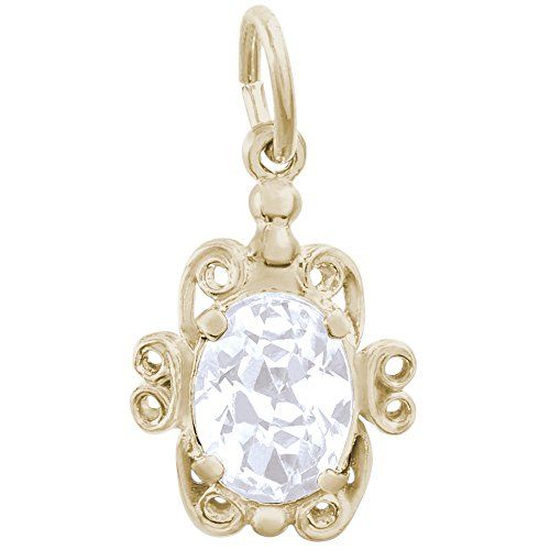 Rembrandt Charms, Filigree April Stone, Synthetic Spinel, 22k Yellow Gold Plated Silver