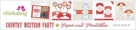 Country-Western theme paper goods and printables from Chickabug