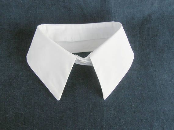 Fake shirt collar, Women's detachable white cotton fabric faux dickie necklace, Trendy bridal bowtie, Sweater choker trendy collar scarf