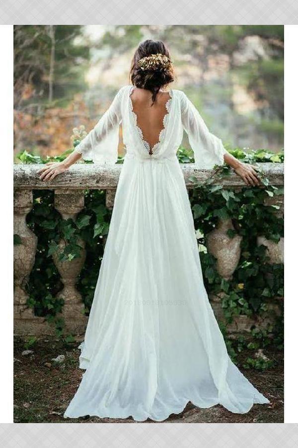 Beautiful Wedding Dress Plus Size, Wedding Dress With Sleeves, Ivory Wedding Dress, Backless Wedding Dress