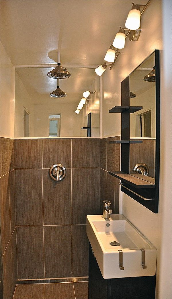 Awesome Shower/bathroom Design For A Tiny House Or Shipping Container House. Note  The Drain Along The Wall And Mirror Above To Make It More Spacious. Ideas