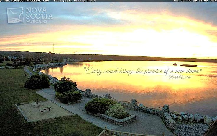 Every sunset brings the promise of a new dawn. - Ralph Waldo  Click here to see the live view: http://www.novascotiawebcams.com/en/webcams/liverpool/  #Liverpool #NovaScotia #Sunset #Quote