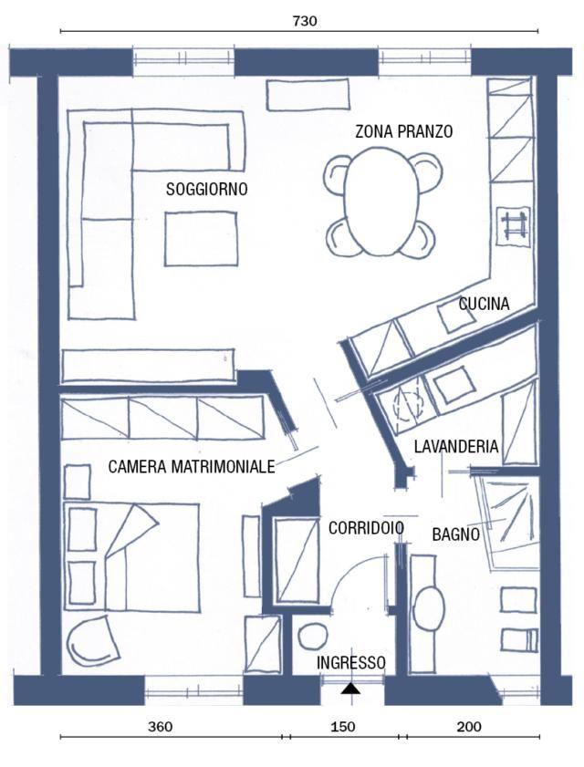 Bilocale Di 65 Mq Deluxe Di Ringhiera Cose Di Casa Planimetrie Di Case Piantine Di Case Planimetrie Dell Appartamento