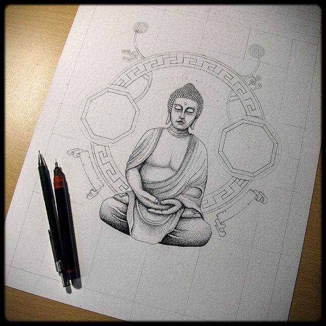 bouddha dessin en cours de cration tape 2