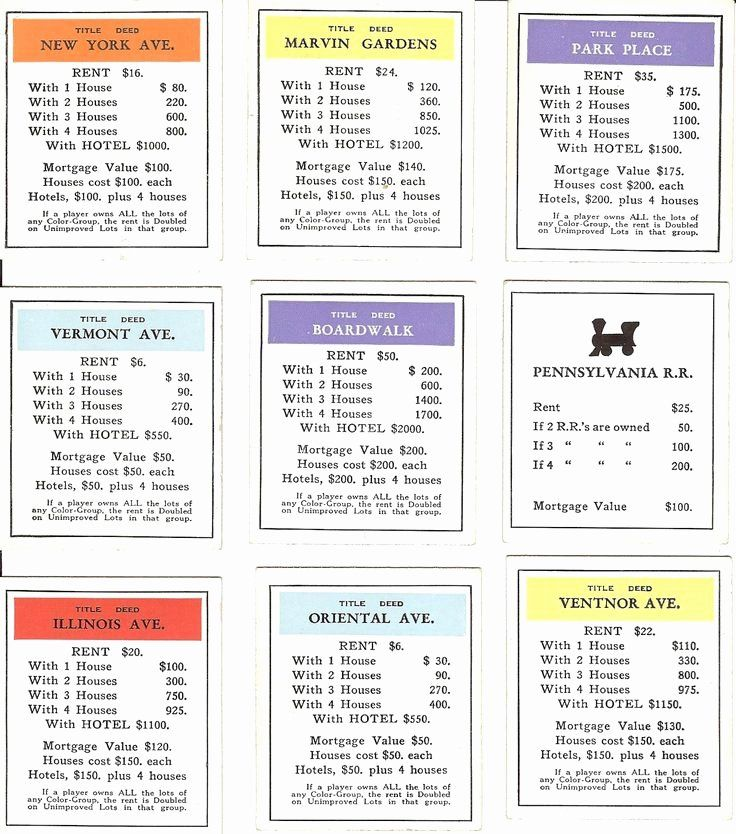 Monopoly Property Cards Template Inspirational 23 Best Images About Monopoly Magic On Pinterest Monopoly Cards Custom Monopoly Vintage Ephemera