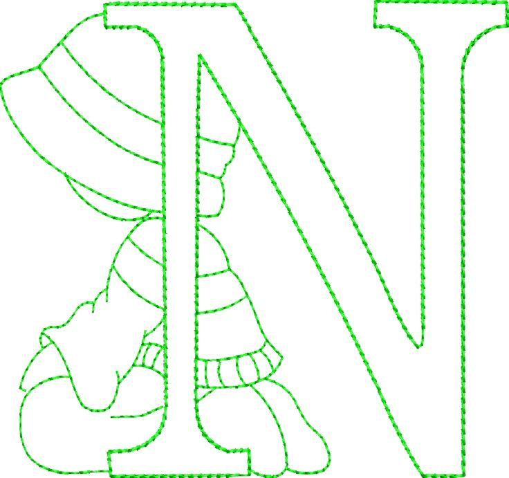 Embroidery Designs Sunbonnet Alphabet N
