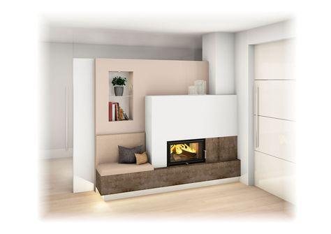 Kachelofen modern mit sichtfenster und ofenbank kamin in - Steinriemchen wohnzimmer ...