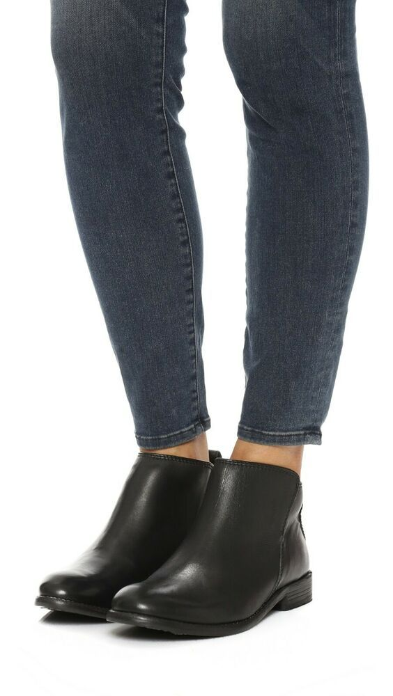 f4a95174c94 H by Hudson Black Revelin Leather Flat Low Zip Ankle Casual Boots ...