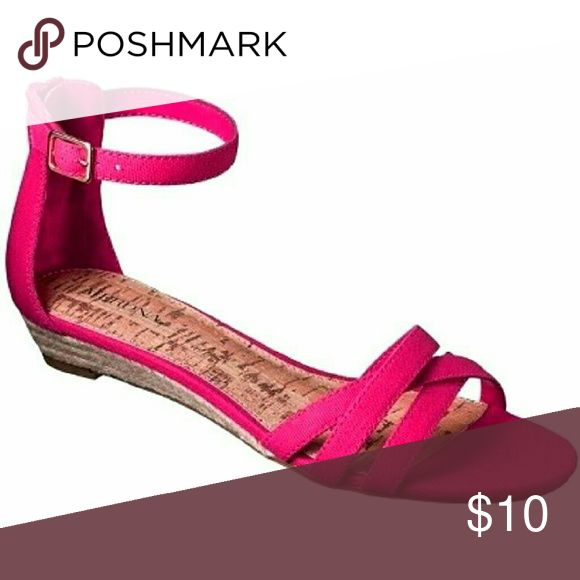 Fuschia Espadrille Wedge Never got around to wearing. Cute deep pink espadrille sandal with a mini wedge and ankle strap. Merona Shoes Wedges