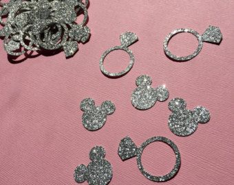 Confeti de boda inspirado de Minnie Mouse - cortes de diamante anillos Minnie Mouse - disney confetti boda / plata brillo