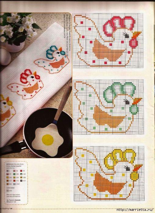 Вышивка. Петушки на полотенце (508x700, 335Kb)