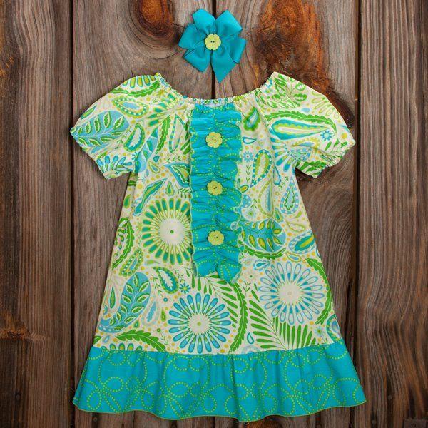 Ruffle Front Peasant Dress