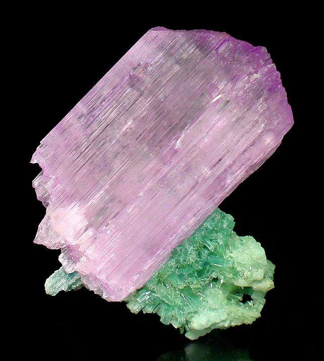 Kunzite on Green Tourmaline ~ Mawi Pegmatite, Du Ab District, Nuristan Province, Afghanistan