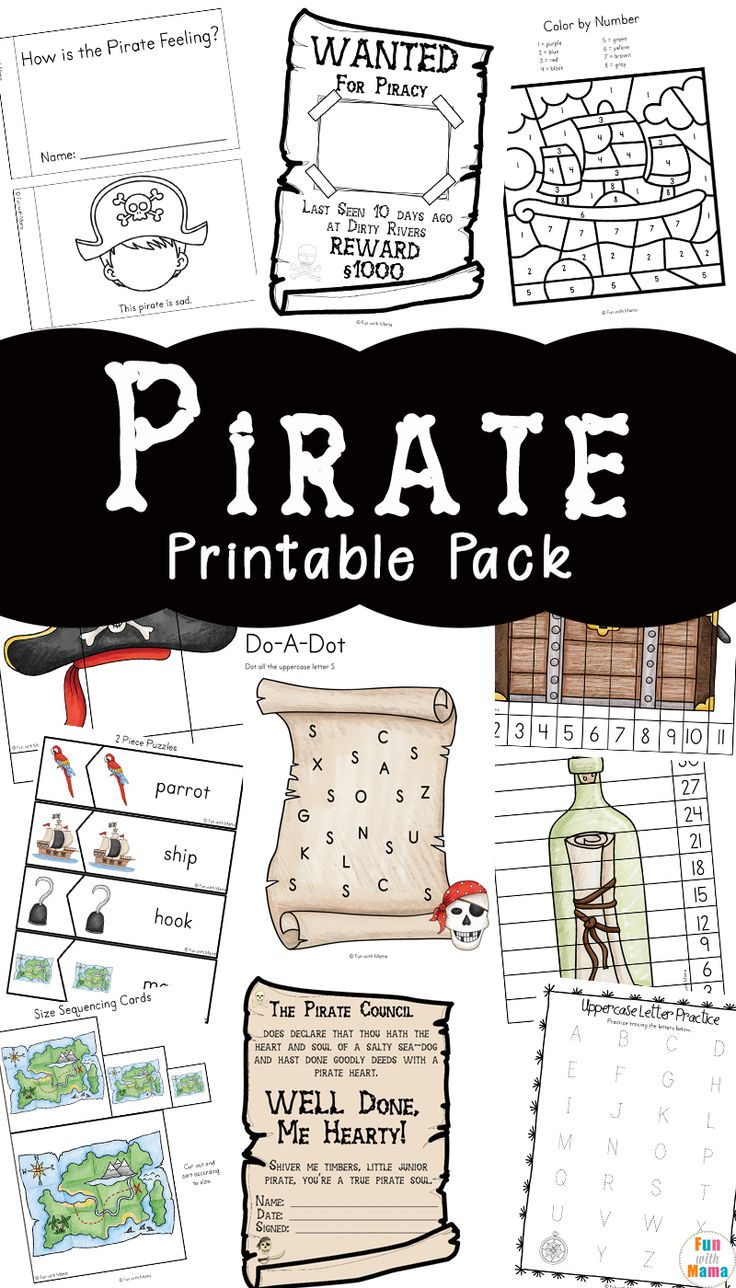 Pirate games for kids, pirate learning activities, free printables via @funwithmama