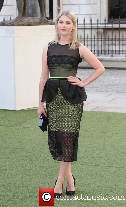 Hannah Arterton @ Royal Academy Summer Exhibition Preview Party  wearing a sleeveless black and green Peplum style dress