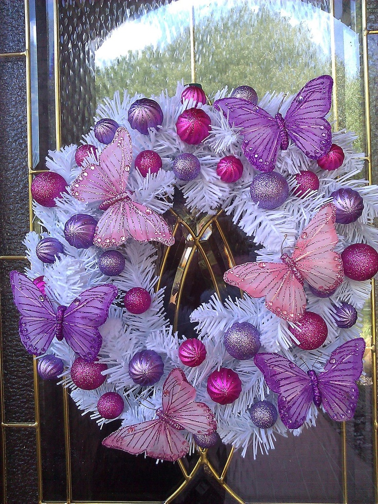 White Christmas With Pink and Purple Butterflies: