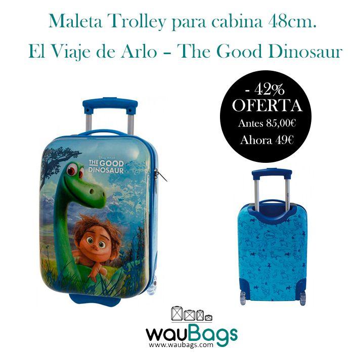 """¡¡Convierte sus viajes en una auténtica aventura con la Maleta Trolley """"The Good Dinosaur"""" de El Viaje de Arlo!!   Además, con ella no tendréis que facturar, ya que sus medidas son las homologadas para poderla llevar en la cabina del avión.  @waubags #elviajedearlo #thegooddinosaur #disney #maleta #trolley #infantil #cabina #oferta #descuento"""