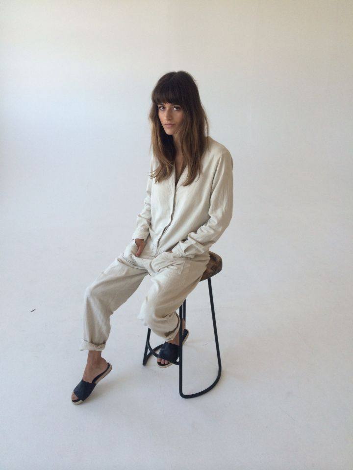 Cole jumpsuit in natural linen.  www.nicemartin.com  @nice_martin