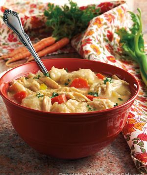 Chicken and Dumplings - so delicious. I made this last night - added parsnips and sauteed the veggies before adding them - and my family LOVED it!