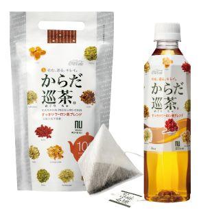 写真左から、「からだ巡茶」ティーバッグ(2.5g×10パック)398円、「からだ巡茶」ペットボトル(410ml)147円/以上、メーカー希望小売価格