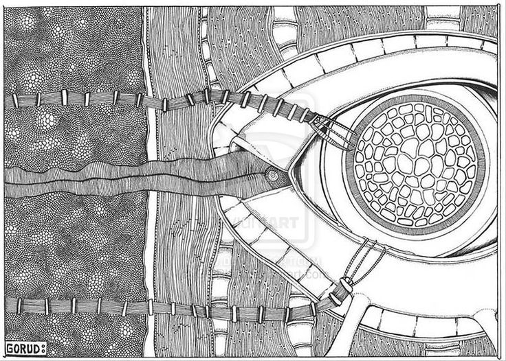 Conception Perception (2000) by ~GORUD on deviantART Every time I see this, I think of it as an architectural drawing of some building and grounds from above. Pen and ink.