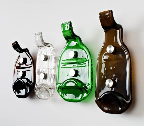 Recycled beer bottle hooks would be great for the kitchen!