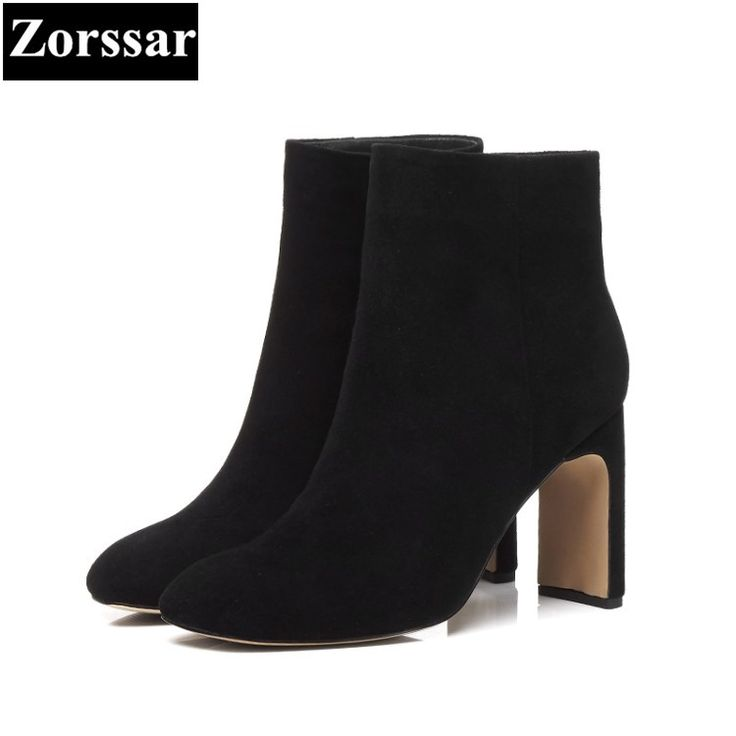 Find More Ankle Boots Information about {Zorssar} 2018 NEW Large size Women Boots Thick heel Round Toe High heels ankle Riding boots Kid Suede womens shoes winter,High Quality women shoes winter,China shoes winter Suppliers, Cheap high heels ankle from Zorssar Zorssar Store on Aliexpress.com