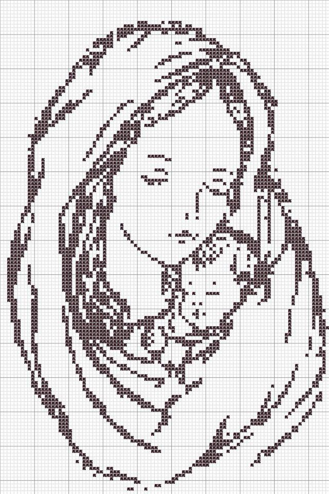 Cross-stitch Mother & Child.. no color chart, just use pattern chart colors as your guide.. or choose your own colors.    punto a croce: